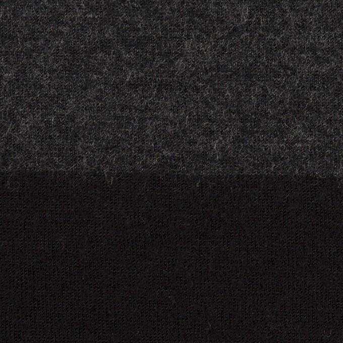 ウール×ボーダー(チャコールグレー&ブラック)×天竺ニット イメージ1