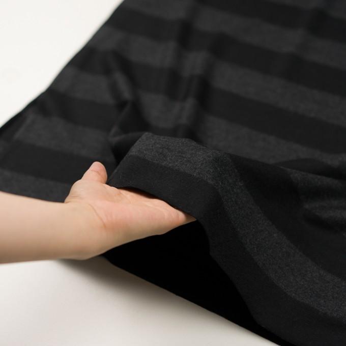ウール×ボーダー(チャコールグレー&ブラック)×天竺ニット イメージ5