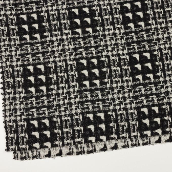 ウール×チェック(アイボリー&ブラック)×二重織ガーゼ イメージ2