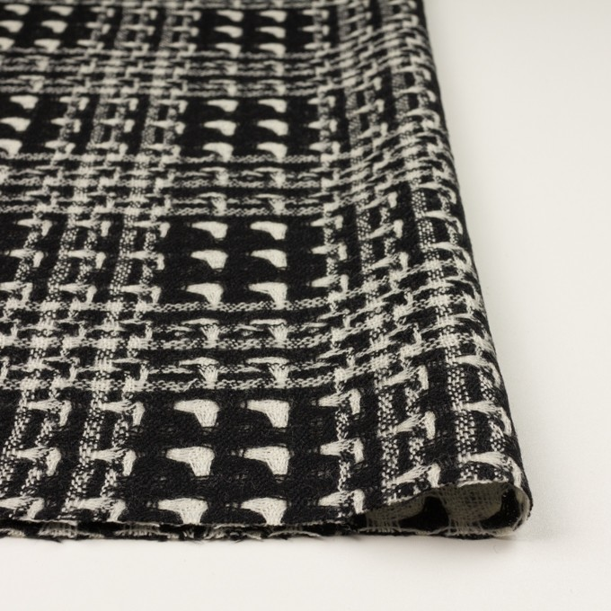 ウール×チェック(アイボリー&ブラック)×二重織ガーゼ イメージ3