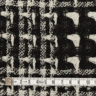 ウール×チェック(アイボリー&ブラック)×二重織ガーゼ サムネイル4