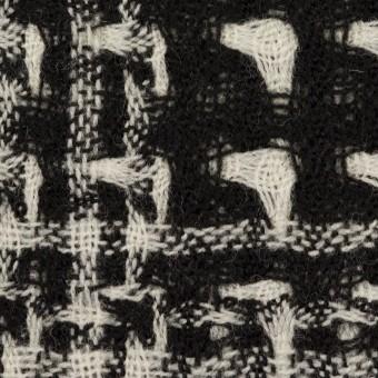 ウール×チェック(アイボリー&ブラック)×二重織ガーゼ サムネイル1