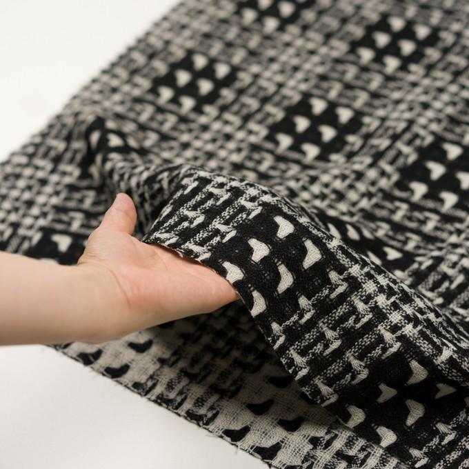 ウール×チェック(アイボリー&ブラック)×二重織ガーゼ イメージ5