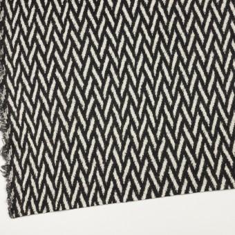 ウール×幾何学模様(アイボリー&ブラック)×ジャガードニット サムネイル2