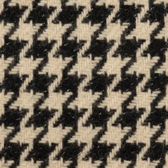 ウール&アルパカ混×チェック(ベージュ&ブラック)×千鳥格子