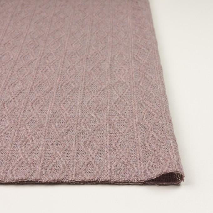 ウール&アクリル混×幾何学模様(グレイッシュピンク)×模様編みニット イメージ3
