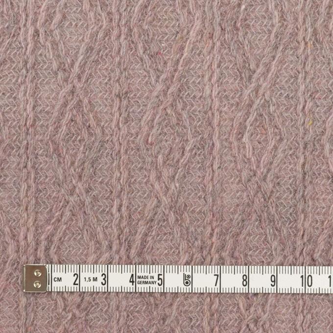 ウール&アクリル混×幾何学模様(グレイッシュピンク)×模様編みニット イメージ4