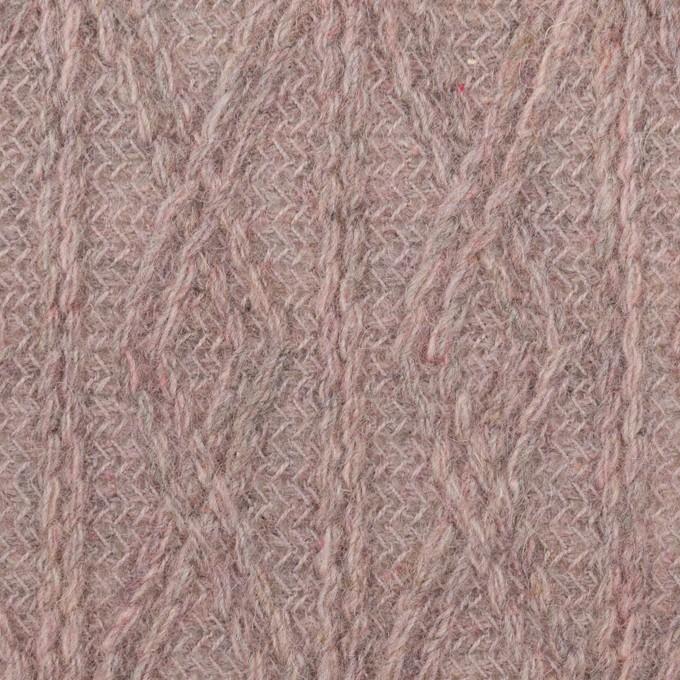 ウール&アクリル混×幾何学模様(グレイッシュピンク)×模様編みニット イメージ1