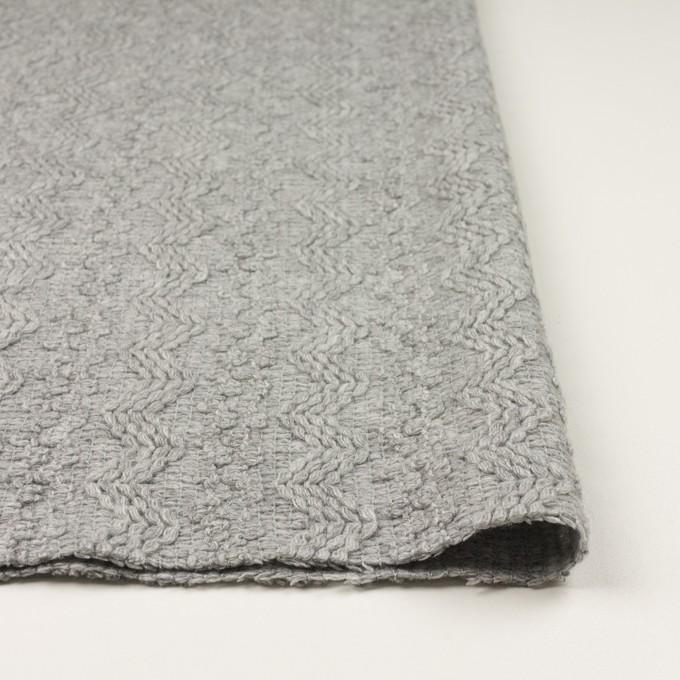 ウール&アクリル混×幾何学模様(ライトグレー)×かわり織 イメージ3