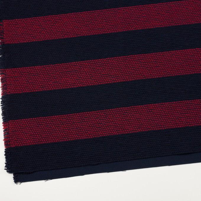 ウール&アクリル混×ボーダー(アガット&ダークネイビー)×かわり織_全2色 イメージ2