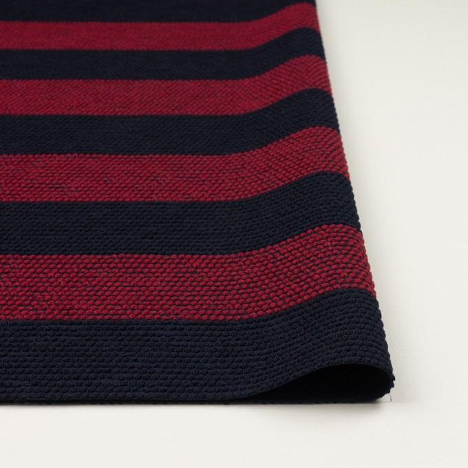 ウール&アクリル混×ボーダー(アガット&ダークネイビー)×かわり織_全2色 イメージ3