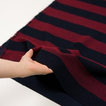 ウール&アクリル混×ボーダー(アガット&ダークネイビー)×かわり織_全2色 サムネイル5