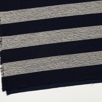 ウール&アクリル混×ボーダー(アイボリー&ダークネイビー)×かわり織_全2色 サムネイル2