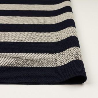 ウール&アクリル混×ボーダー(アイボリー&ダークネイビー)×かわり織_全2色 サムネイル3