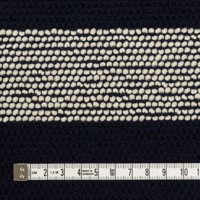 ウール&アクリル混×ボーダー(アイボリー&ダークネイビー)×かわり織_全2色 イメージ4