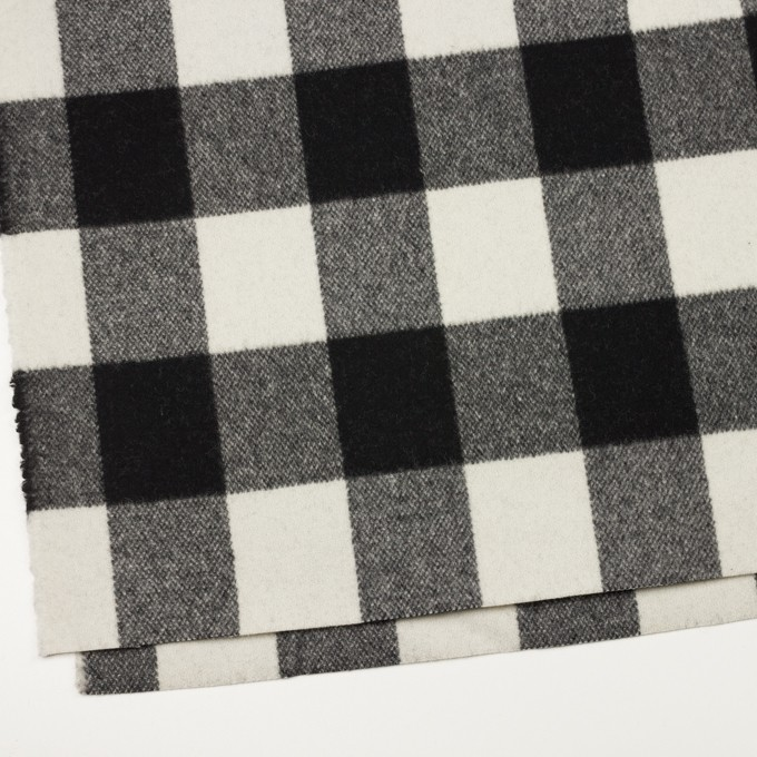 ウール×チェック(アイボリー&ブラック)×ツイード イメージ2