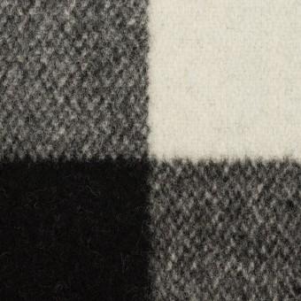 ウール×チェック(アイボリー&ブラック)×ツイード