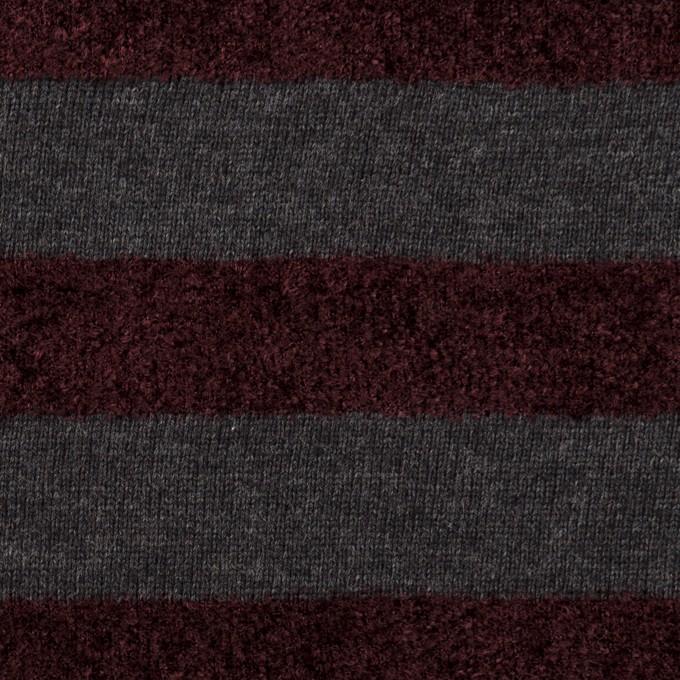 リヨセル&アクリル×ボーダー(チャコール&ワイン)×天竺ニット_パネル イメージ1