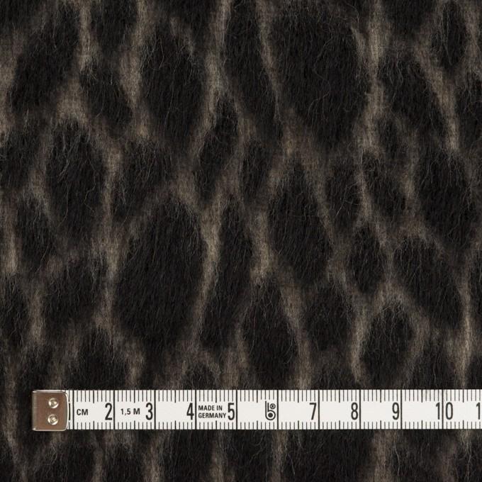 ウール×レオパード(ベージュ&チャコールブラック)×シャギー イメージ4