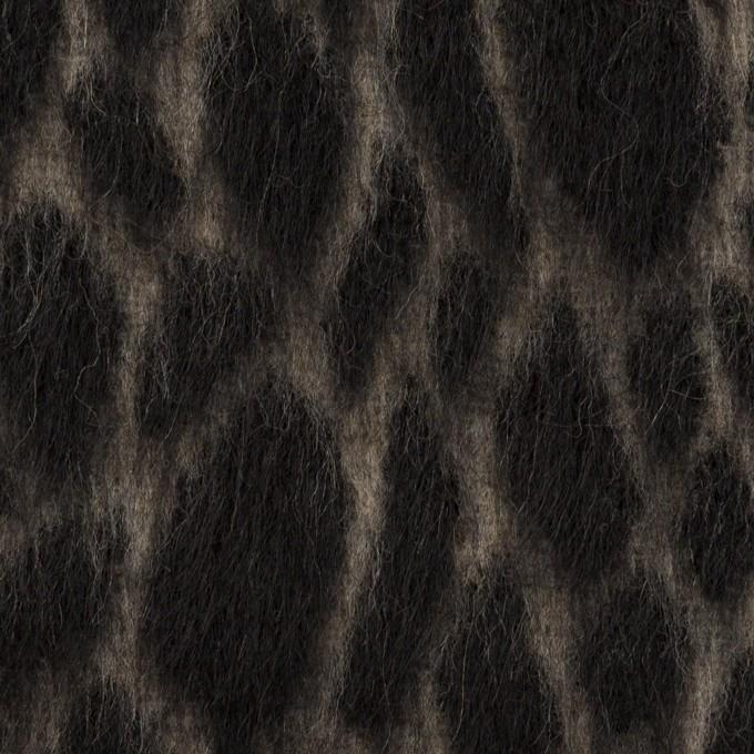 ウール×レオパード(ベージュ&チャコールブラック)×シャギー イメージ1