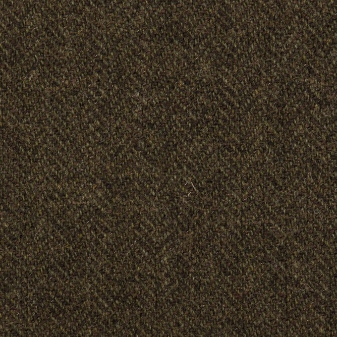 ウール&ナイロン×ミックス(カーキグリーン&ダークブラウン)×ヘリンボーン イメージ1