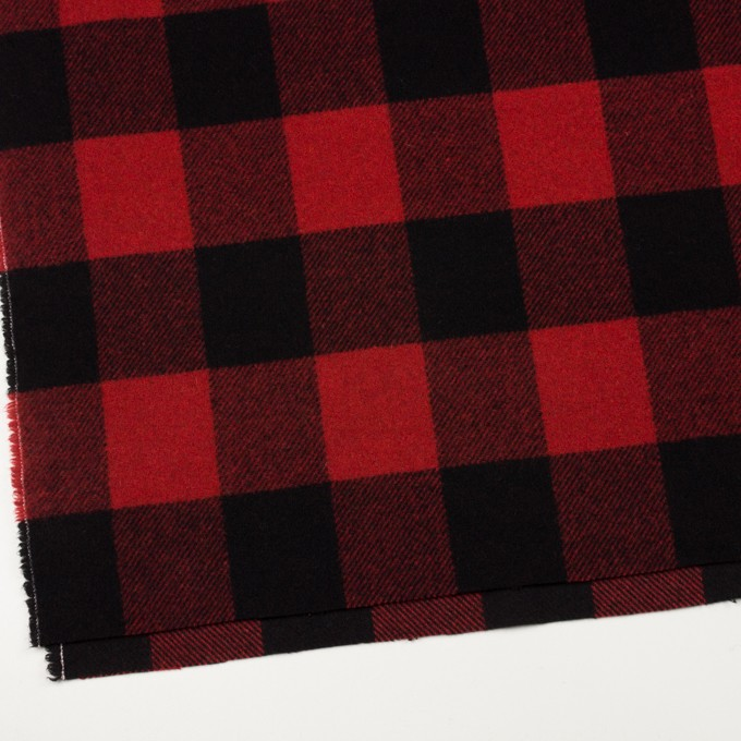 ウール×チェック(レッド&ブラック)×フラノ(フランネル) イメージ2