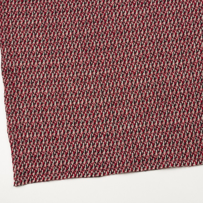 ウール×ミックス(アイボリー、レッド&ブラック)×ジャガードニット イメージ2