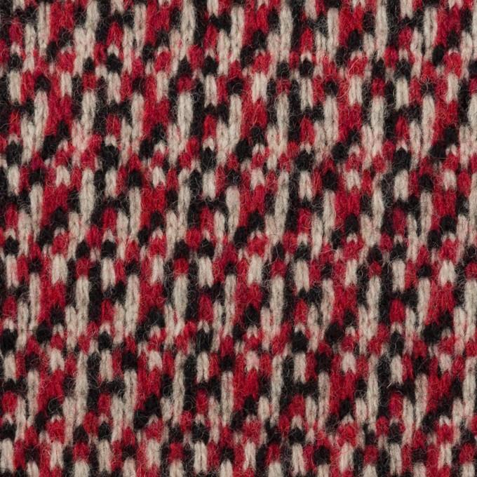 ウール×ミックス(アイボリー、レッド&ブラック)×ジャガードニット イメージ1