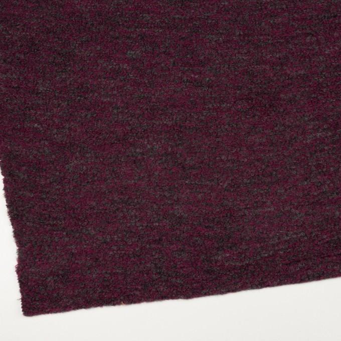 ウール&ポリエステル混×ミックス(プラムパープル&チャコールグレー)×ループニット イメージ2