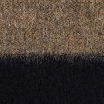 ウール&ポリエステル混×ボーダー(ベージュ&ネイビー)×シャギー サムネイル1
