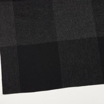 ウール×チェック(チャコールグレー&ブラック)×二重織_パネル サムネイル2