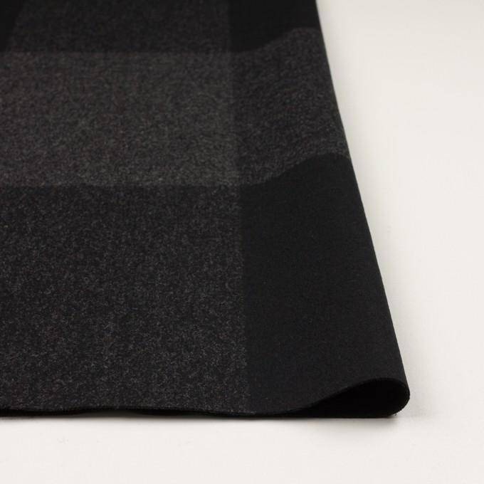 ウール×チェック(チャコールグレー&ブラック)×二重織_パネル イメージ3