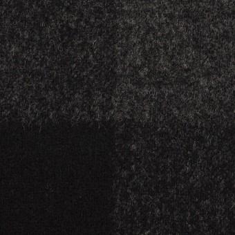 ウール×チェック(チャコールグレー&ブラック)×二重織_パネル サムネイル1