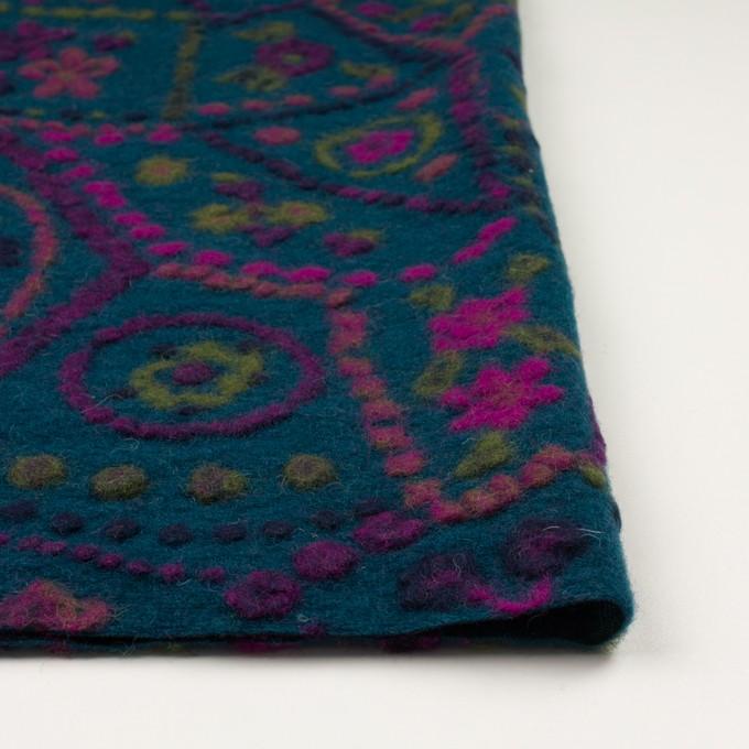 ウール×フラワー(バルビゾンブルー)×ジャガードニット_全3色_イタリア製 イメージ3
