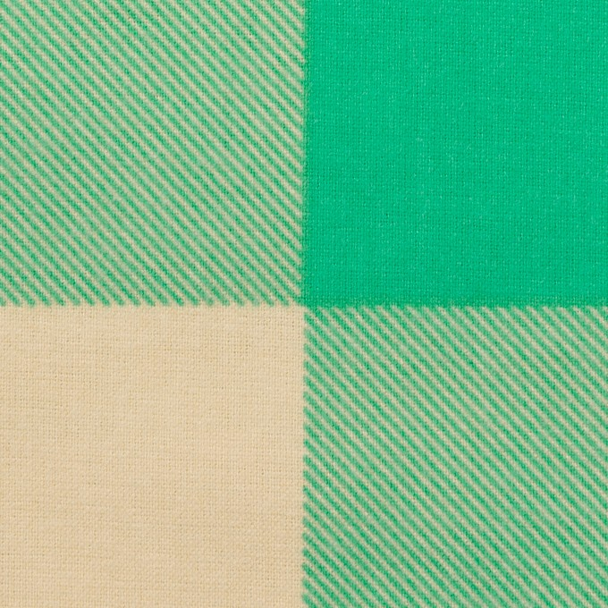 コットン×チェック(キナリ&エメラルドグリーン)×フランネル_全2色 イメージ1