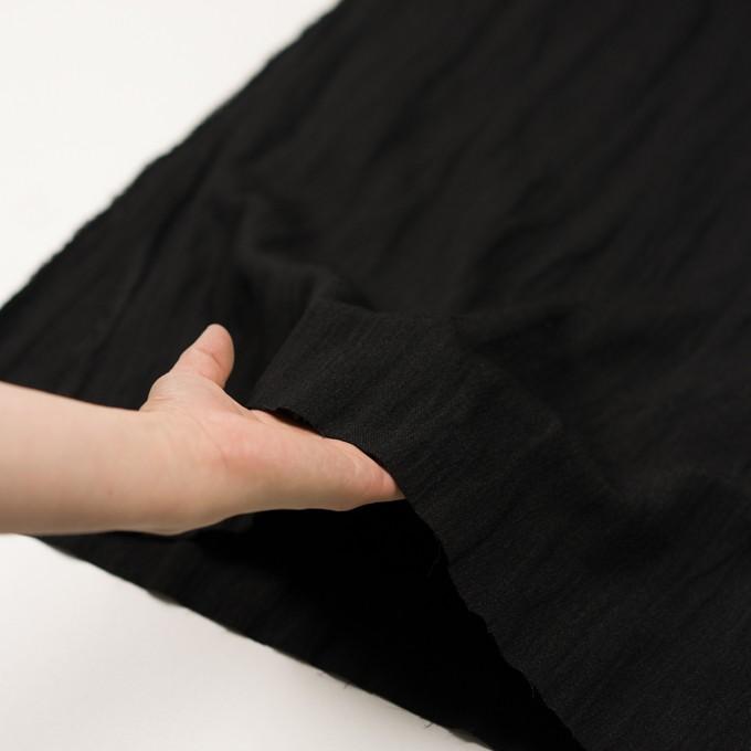 ウール&メタル×無地(ブラック)×ジョーゼットワッシャー_全2色_イタリア製 イメージ5