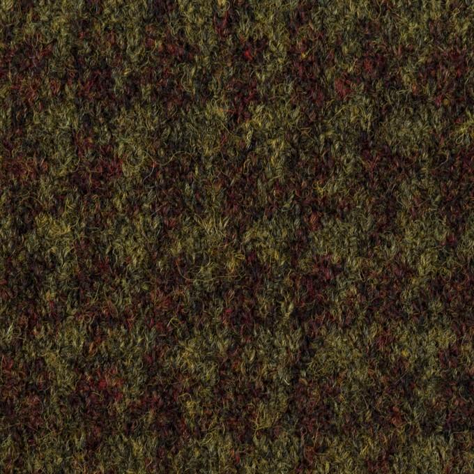 ウール×千鳥格子(アガット&アボカド)×ジャガードニット イメージ1