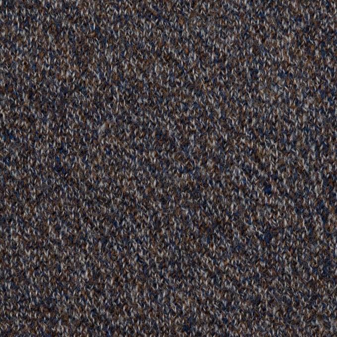 ウール×ミックス(グレー、ネイビー&ブラウン)×かわり編み イメージ1