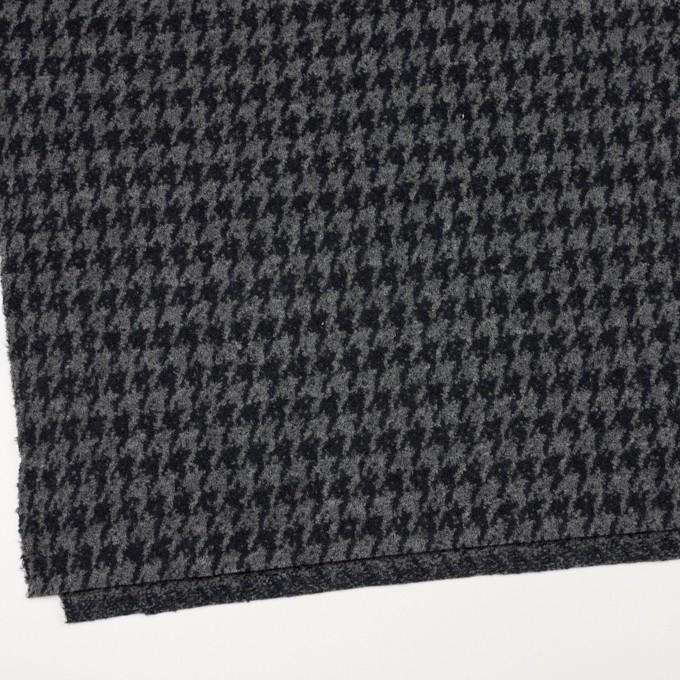 ウール&ナイロン×千鳥格子(グレー&ダークネイビー)×ループニット イメージ2