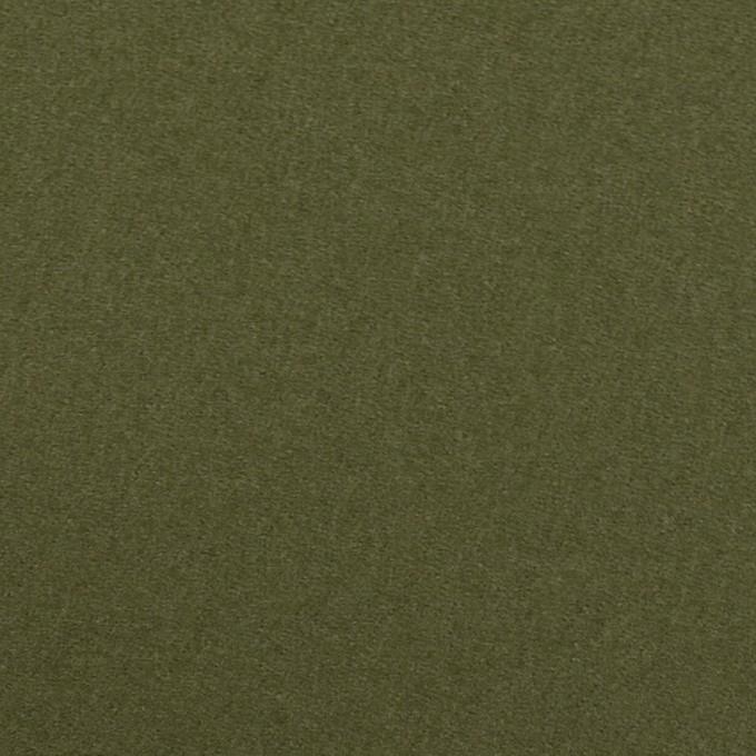 ウール×無地(カーキグリーン)×フラノ(フランネル) イメージ1