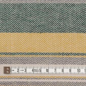 コットン×ボーダー(マスタード、グレー&モスグリーン)×ヘリンボーン_全3色 サムネイル4