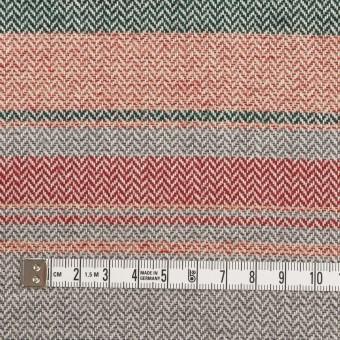 コットン×ボーダー(レッド、グレー&モスグリーン)×ヘリンボーン_全2色 サムネイル4