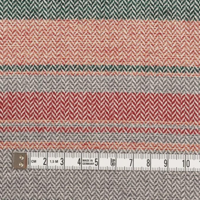 コットン×ボーダー(レッド、グレー&モスグリーン)×ヘリンボーン_全2色 イメージ4