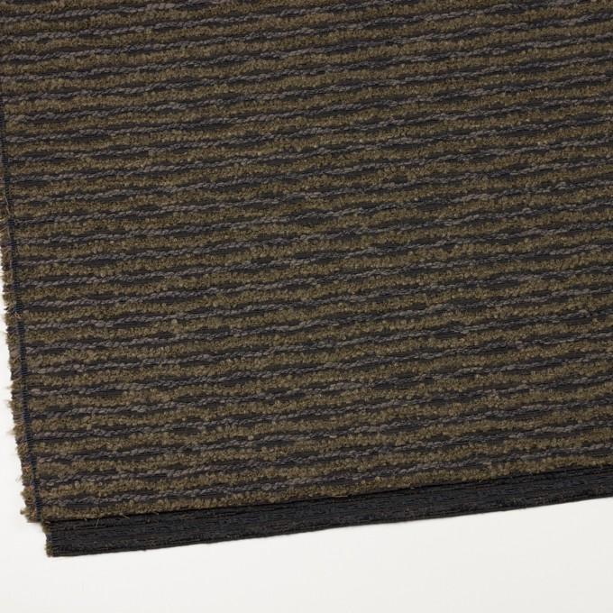 テンセル&ウール混×ボーダー(オリーブ&チャコール)×ジャガード イメージ2