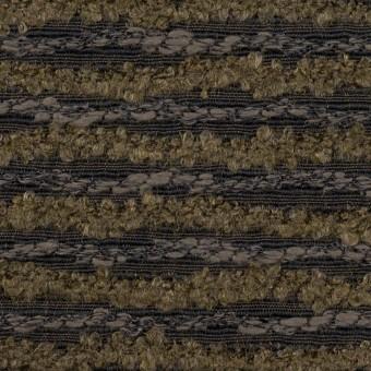 テンセル&ウール混×ボーダー(オリーブ&チャコール)×ジャガード
