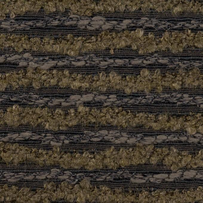 テンセル&ウール混×ボーダー(オリーブ&チャコール)×ジャガード イメージ1