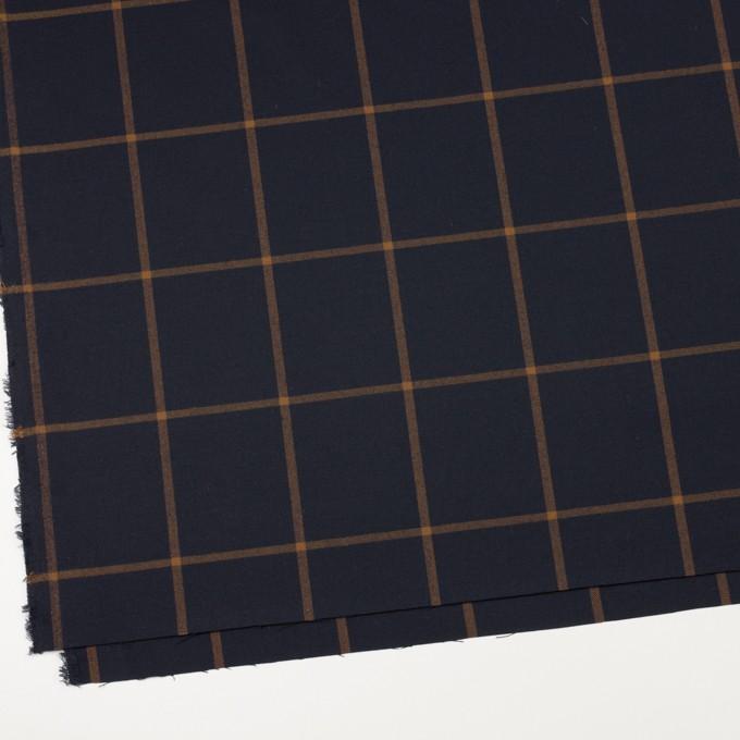 レーヨン&ポリエステル混×チェック(ダークネイビー&モカ)×サージストレッチ イメージ2