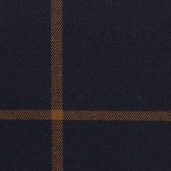 レーヨン&ポリエステル混×チェック(ダークネイビー&モカ)×サージストレッチ サムネイル1