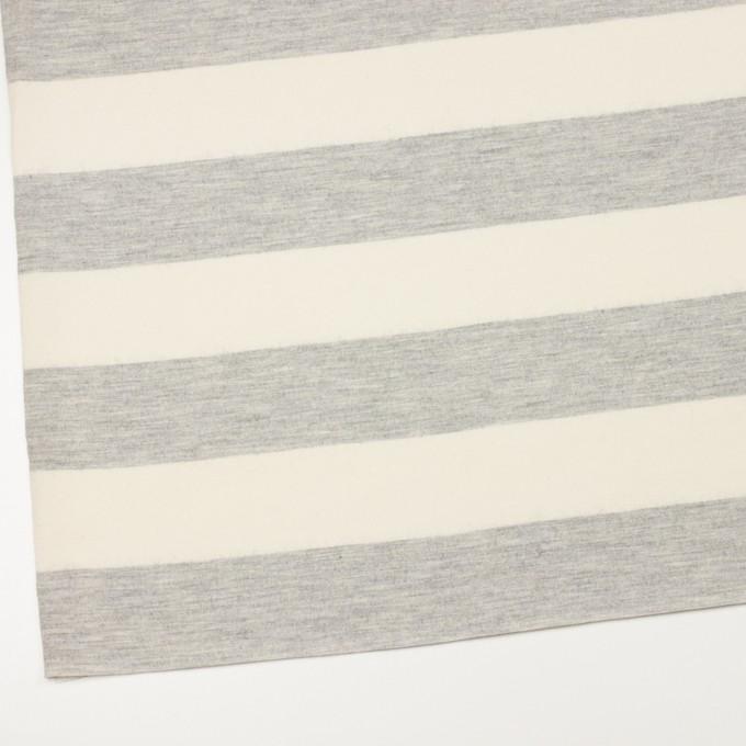 ウール×ボーダー(ミルキーホワイト&ライトグレー)×圧縮ニット イメージ2