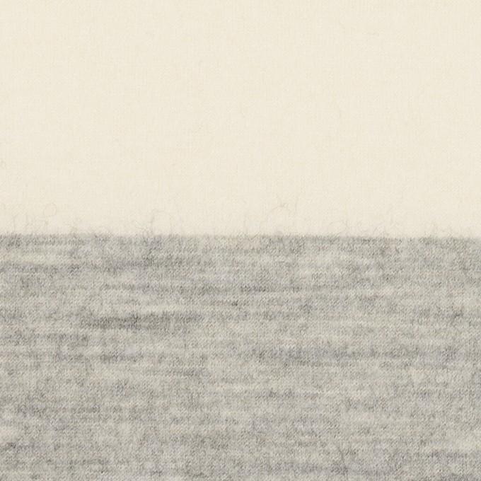 ウール×ボーダー(ミルキーホワイト&ライトグレー)×圧縮ニット イメージ1